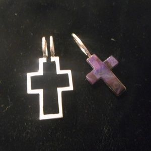 Sugilite Two-Part Cross Pendant, 3 Way Wearable